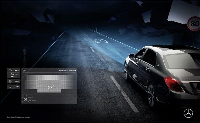 Daimlers intelligente Scheinwerfer beleuchten Straße mit Symbolen