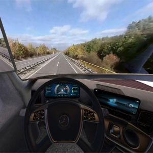 Blick in die 3D-Brille: Die Lkw-Fahrer sehen beim Test das virtuelle Cockpit des neuen Actros samt Fahrsituation
