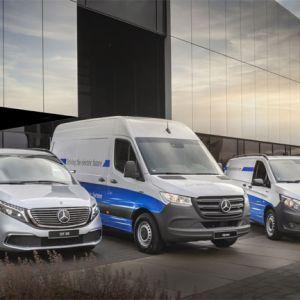 Elektrisches Produktportfolio von Mercedes-Benz Vans (v. l. n. r. EQV, eSprinter, eVito