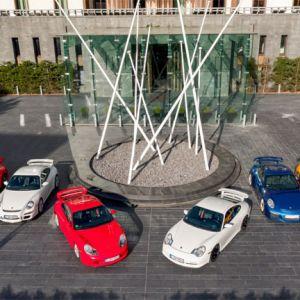 Alle sechs Generationen des Porsche 911 GT3 (v.r.: 997.2, 997.1, 996.1, 996.2, 991.1, 991.2)