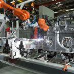 BMW i3 Produktion BMW Werk Dingolfing: Schweißen des Aluminium-Chassis